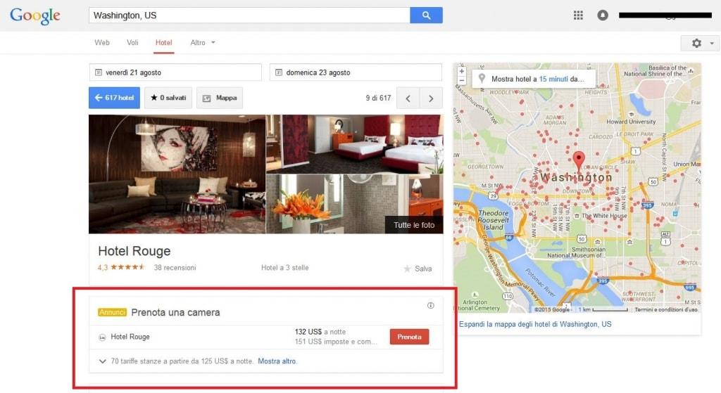 Hotel Rouge prenotazione da Google 2